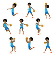 set different action african basketball vector image