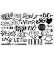set of hand drawn inscription and symbols vector image vector image