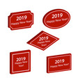 set of red labels happy new year 2019 vector image vector image