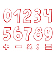 set of red numbers vector image vector image