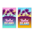 set tropical island with palm trees and sunset vector image vector image