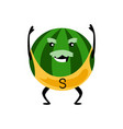 sport strong watermelon character funny fruit vector image