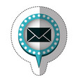 sticker with closed envelope mail in circular vector image vector image