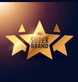 super brand three star golden label for your vector image vector image