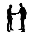 two teens friends hand shake silhouette vector image