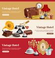 vintage hotel horizontal banner set vector image vector image