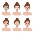 woman spa faces collection vector image