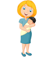 Young mother tenderly embracing their baby vector image vector image