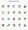 Flat line color icons Business and Finance vector image