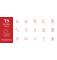 15 protection icons vector image vector image