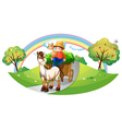 A farmer with his farm pets at the street vector image vector image
