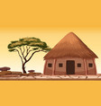 a traditional hut at desert vector image