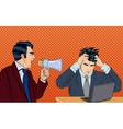 Angry Boss Screaming in Megaphone Pop Art vector image