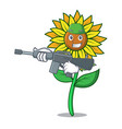 army sunflower character cartoon style vector image vector image