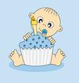baby boy birthday cake vector image vector image