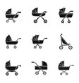 baby pram icon set simple style vector image vector image