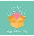 Big pink shining heart in the box Flat design vector image vector image