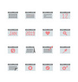 calendar related in flat icon set vector image