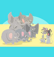 cartoon elephants and mice animal characters vector image vector image