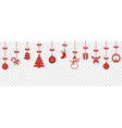 christmas hanging ornaments background vector image vector image