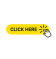 click here banner web button with action hand vector image vector image