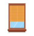 curtain or bamboo blinder on wooden window vector image vector image