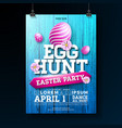egg hunt easter party flyer vector image