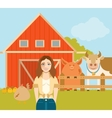 Farmer woman and a flat farm vector image vector image