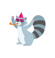 flat raccoon character having fun whistling vector image vector image