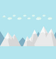 flat winter mountains with clouds and sky vector image