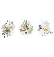 floral spring card composition set for poster vector image vector image