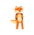 fox standing with backpack cute animal cartoon vector image vector image