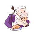 funny cow character eating cookies on sofa at home vector image