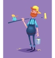 Funny of painter cartoon character vector image vector image