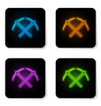 glowing neon crossed pickaxe icon isolated on vector image