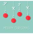Hanging christmas ball set Dash line with bows vector image vector image