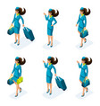 isometry a set of girls of the stewardesses vector image vector image