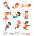 kids jumping trampoline children athletic vector image vector image