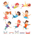 kids jumping trampoline childrens athletic vector image vector image