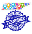 mosaic map of tennessee state with map pointers vector image