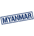 myanmar blue square stamp vector image vector image