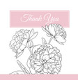 peony rose flowers bouquet thank you card template vector image vector image