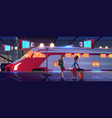 people on railroad station platform with train vector image vector image