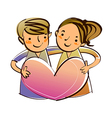 Portrait of Boy and Girl vector image vector image