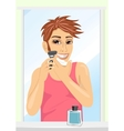 Portrait of young handsome man shaving vector image vector image