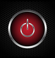 power button with abstract metal texture vector image vector image