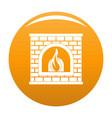 retro fireplace icon orange vector image vector image