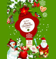 santa and snowman with gift bag for christmas card vector image vector image