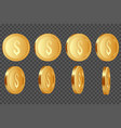 set of 3d dollar coins vector image vector image