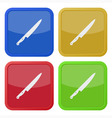 set of four square icons with kitchen knife vector image vector image